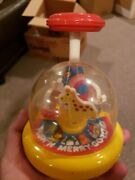 Vintage Plastic Tomy Push'n Merry Go Zoo Spinning Kids Toy - Red/yellow Color