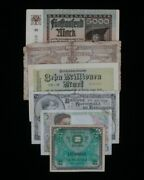 European Nations 6-notes Currency Set // France And Belgium Francs, Germany Mark