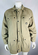 Vintage Mens Xl Quilted Field Jacket Coat Tan Pockets Zip Up Usa