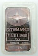 Johnson Matthey Citibank 1oz Silver Art Bar Very Rare .999 Fine Ogp Sealed H363