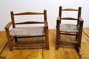Rocking Chair And Love Seat Caned Wood Miniature Furniture 2 Pc Vintage Handmade