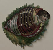 Antique Victorian 1880s Embossed Die Cut Child Peeking Out Of Seashell