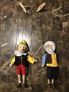 Disney Fairy Tale Pinocchio And Geppeto Puppets/marionettes Read