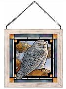 Stony Lookout-snowy Owl Stained Glass Art By Rosemary Millette Wild Wings