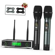 Fifine Wireless Microphone System, Two Handheld Dynamic Cordless Mic And Dual