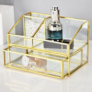 Makeup Organizer Antique Glass Cosmetics Storage Display For Dressing Table