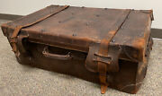 Large Antique Leather Travel Suitcase English Steamer Shipping Trunk