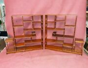 Pair Old Or Antique Chinese Hardwood Curio Treasure Shelves