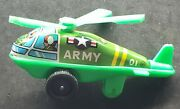 Vintage Tin Toy Army Helicopter Made In Japan Friction Wheels Works