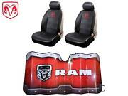 5 Pc Dodge Ram Syn Leather Seat Covers And Sun Shade Fits All Dodge 1500 2500 3500