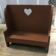 Vtg Primitive Rustic Red Wooden Miniature Doll Plant Stand Bench Heart Cutout