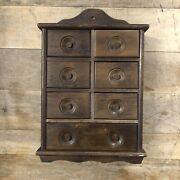 Vintage Wooden Wall Mounted Hanging Spice Cabinet Seven Drawers Inset Knobs