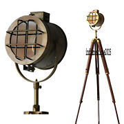 Nautical Antique Searchlight Floor Lamp Natural Wood Tripod Stand Home Decor