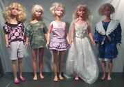 Lot Of 5 Vintage Mattel - My Size Barbie 36 Dolls W/outfits - Free Shipping