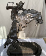 Large Frederic Remington The Broncho Buster Western Bronze 23andrdquo Statueandnbsp46.8