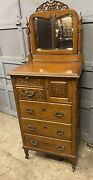 Victorian Carved Oak Bonnet Chest With Northwind Face