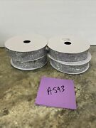 """Set Of 4 1"""" X 9' Decorative Silver Tinsel Ribbon By Valerie Parr Hill"""