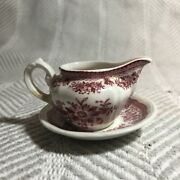 Vintage Mini Villeroy And Boch Pitcher/creamer And Saucer Fasan Red White Floral