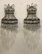 Pair Wall Lights C1900s . Crystal Drops. Network Of Glass Rosettes.