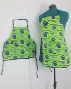 Seattle Seahawks Aprons Daddy Mommy And Me Bbq Tailgate Nfl Chef Grilling 2 Set