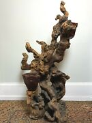 Large Vintage Free Form Driftwood Sculpture With Red Wax Bowls