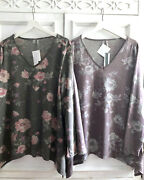 Nwt 1x Shabby Chic Roses Knit V-neck Top Lagenlook Draped Asymmetrical Plum Gray