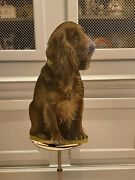 Vintage Fornasetti Toleware Dog Form On Metal Trash Bin With Brass Plated Rim.