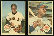 1968 O-pee-chee Posters 15 Willie Mays 8hank Aaron Very Rare Baseball Inserts