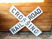 Vintage Double Sided 48 Railroad Crossing Sign Cast Aluminum 50s Raised Letters