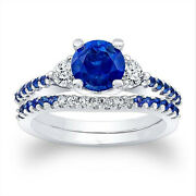 1.61 Ct Real Sapphire Gemstone Wedding Ring Set Solid 14k White Gold Band Size 7