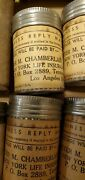 Vintage Metal Cardboard Shipping Medical Pill Bottles / Mailing Containers Lot