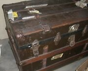 Antique Travel Stave Trunk Flat With Wooden Slats