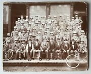 Antique Us Post Office Cabinet Card Photo Bicycles 1895 Large Rare Employees