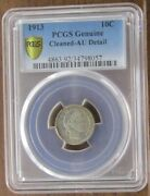 1913 Barber Dime 10 Cent Coin Pcgs Gold Shield Genuine Au Details - Cleaned
