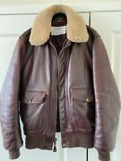Schott Nyc Made In Usa Leather Bomber Jacket 534 Cow Brown Size Medium M
