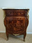 Antique French Inaid Bombe Bombay Chest Bronze Hardware Stone Top