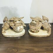 """16x10"""" Large Chinese Foo Dog Dragon Carving Statues Unique Vintage Left Only"""