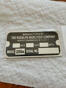 Reproduction Tag For A Wurlitzer Jukebox Type 250a Light-up Wall Speaker