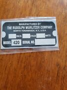 Reproduction Tag For A Wurlitzer Jukebox Type 420 Light-up Wall Speaker