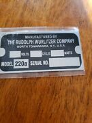 Reproduction Tag For A Wurlitzer Jukebox Type 220a Wall Speaker