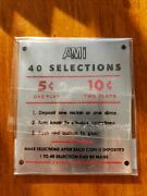 Ami Jukebox Remote Selection Wall Box Coin Instruction Plate