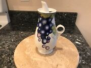 Vintage Mancioli Porcellana Hand Painted Italy Wine Or Olive Oil Decanter Gg