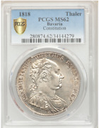 1818 Germany Bavaria Constitution Thaler Taler Coin Pcgs Ms62, Firm Strike