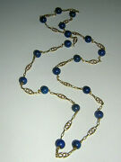 18k Solid Gold Heavy 750 Necklace Lapis 22 Grams 29 Long Chain Antique Filigree
