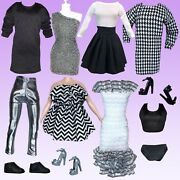Eledoll Clothes Lot Lady Boss Black White Silver Fashion Pack For 11.5andrdquo Doll