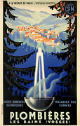 Original Vintage Poster Plombieres French Spa Airline Railroad Travel France Ol