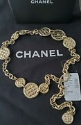 Auth.15k 1825 Nwt Gold Chain Quilted Cc Logo Coins Belt/necklace One Sz