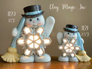 Pair Of Ceramic Bisque Hand-painted Lg And Med Belly Snowman