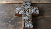 Vintage Cross Religious Medals Outsider Art Wall Hanging 5