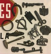 1920and039s Cracker Jack Metal Toy Prize Charms Wholesale Lot Tools Animals Pipe 15